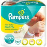 PAMPERS COUCHES NEW BABY MICRO 1-2,5 KG x 24 à PODENSAC
