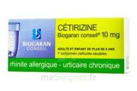 CETIRIZINE BIOGARAN CONSEIL 10 mg, comprimé pelliculé sécable à PODENSAC
